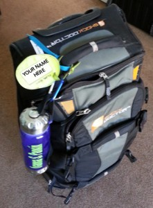 skate bag with water bottle and luggage tag